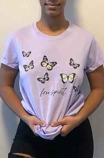 Casual Prue-kleurenprint T-shirts met ronde hals en korte mouwen E8564
