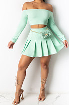 Trendy Sexy Pure Color Dew Shoulder Pleated Skirt Sets ML7426