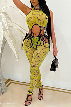 Digital Printing Sleeveless Long Pants Hollow Out Sexy Two-Piece ARM8253