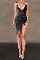 Bling Bling Sexy Ruffle Cultivate One's Morality Irregular Club Mini Dress WMZ2516