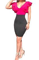 Red Black Spliced Falbala V Neck Mini Dress AB6603