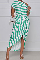 Off Shoulder Stripe Irregular Midi Dress TL6555