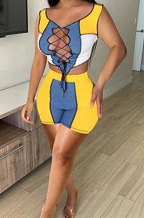 Комплекты спортивных повседневных шорт Bind Rib Spliced NK223