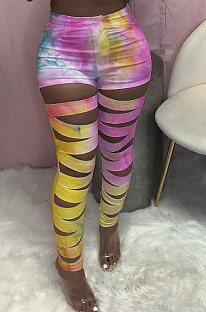 Personality Tie Dye Hurnt Flower Casual Pants LY012
