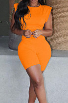 Trendy Womenswear Pure Color Shoulder Pads Short Sleeve Shorts Sets MR2080