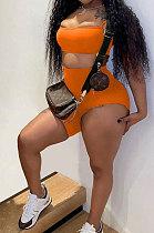 Fashion Casual Pure Color Slip Vest Top Shorts Sets MR2079