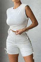 Prue Color Shirred Detail Casual Sports Shorts Two-Piece CM2103
