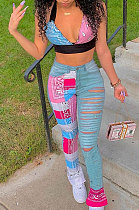 Casual Printing Sleeveless Vest Jeans Long Pants Sets GLS8107