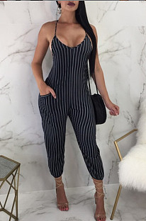 Casual Stripe Sling Sexy Jumpsuits QL6005