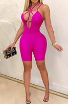 Sexy Deep V Tight Casual Sling Prue Color Jumpsuits HHM6507