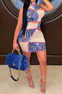 Trendy Women Spliced Burnt Flower Hole Mini Dress RMH8911