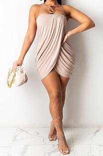 Pure Color Sexy Women Chest Wrap Mini Dress NK214