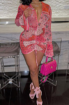 أزياء مثير الطباعة القرن كم فستان قصير OMY0006