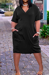 Fashion Loose V Neck Prue Color Casual Dresses TK6153