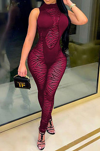 Women Net Yarn Perspective Spliced Sexy Bodycon Jumpsuits FA7170