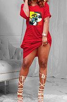 Euramerican Women Casual Trendy Printing Midi Dress FFE107