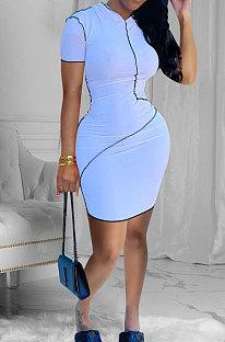 Fashion Sexy Pure Color Tight Mini Dress FFE103