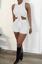 Pure Color Higt Elestic After Short Before Long Shorts Two-Piece HY5212