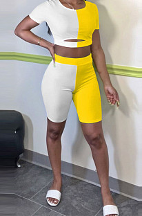 Midriff Montrast Color Spliced Casual Sport Two-Piece E8572