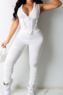 Pure Color Hooded Hollow Out Sexy Shirred Detail Pants Sets CN0094