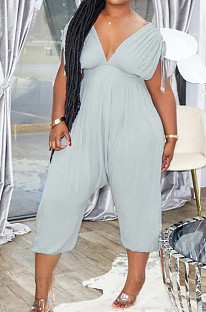 Summer Casual Sports Shirred Detail Lace-UP Jumpsuits XUY9089