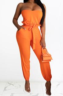 Fashion Sexy Boob Tube Top Belt Lace Waistband Jumpsuits WM2132