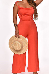 Pure Color Shoulders Bind Casual Wide Leg Jumpsuits SN390090
