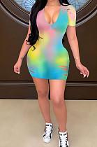 Summer V Neck Hole Sexy Mini Dress H1629