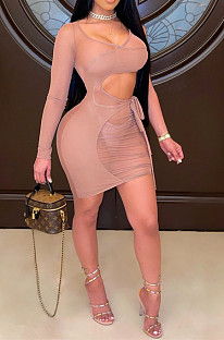 Sexy Net Yarn Perspective Bind Long Sleeve Vest Dress QZ6123