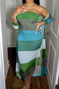 Coat Pit Bar Boob Tube Top Dress Plus Coat In The Long QZ4329