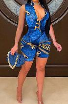 Women Unilateral Short Sleeves Imitation Jeans Fashion Plus Jumpsuit YY5268