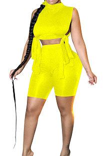 Pure Color Drawsting Sleeveless Sport Casual Shorts Sets XQ1102