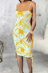 Fashion Digital Tie Dye Printing Sexy Accommodation Zones Midi Dress ABL6658