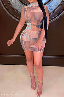 Trendy Casual Women Printing Net Yarn Sexy Mini Dress MDF5227