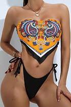 Positioning Printing Bandeau Bra Two Pieces Swimsuits AWL5854