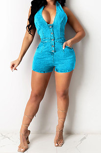 Hang A Neck Halter Neck Casual Pure Color Jeans Romper Shorts F8343