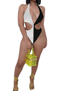 Sexy Trendy Contrast Color Spliced Multi Jumpsuits One Piece Swimsuits AYS053