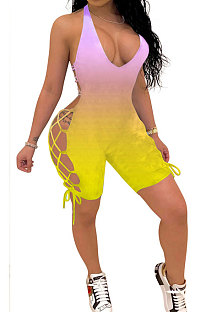 Fashion Sexy Gradient Printing Personality Bind Halter Neck Romper Shorts GHH006