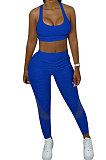 Super Eastic Pineapple Cloth Yoga Sport Vest Long Pants Spliced Two-Pieces XQ1110