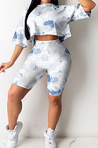 Women Trendy Sexy Casual Round Neck Shorts Sets GHH002