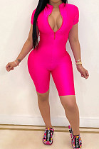 Fashion Cultivate One's Morality Pure Color Sport Jumpsuits BM7104