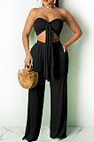 Casual Pure Color Wide-Legged Pant Ribbon Boob Tube Top Suit TRS1123