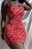 Euramerican Women Cashew Flower Element Printing Gallus Cultivate One's Morality Mini Dress HR8169
