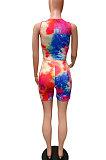 Sleeveless Casual Printing Tie Dye Vest Shorts Sets FM6201