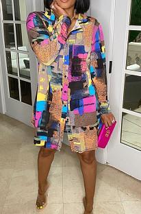 Повседневное свободное платье-рубашка с принтом граффити TRS1121