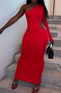 Asymmetric Inclined Shoulder Pure Color Sexy Hole Hole Dresses QQ5237