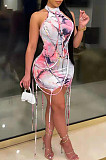 Sexy Cultivate One's Morality Tie Dye Flower Package Hip Skirt TRS1122