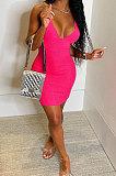 Vertical Stripes Cultivate One's Morality Gallus Pure Color Sexy V Neck Mini Dress FM6202