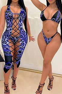 Сексуальное бикини с леопардовым принтом из трех частей SQ943