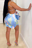 Gallus Tie Dye Printuing Sexy Package Buttocks Mini Dress CCY8679